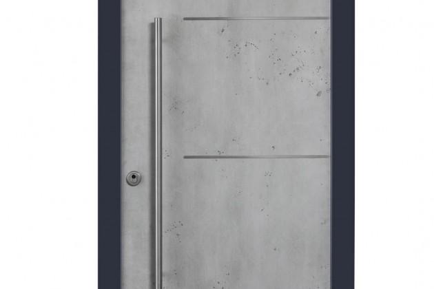 """Haustür """"Baku"""" von außen in Aluminium mit Struktur-Beton-Optik."""