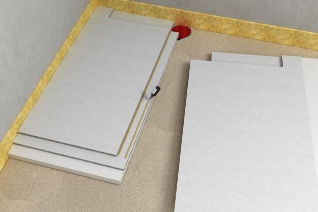 Anschließend muss man die Gefälle-Elemente ausrichten und den beigefügten Kleber auf den Stufenfalz auftragen.