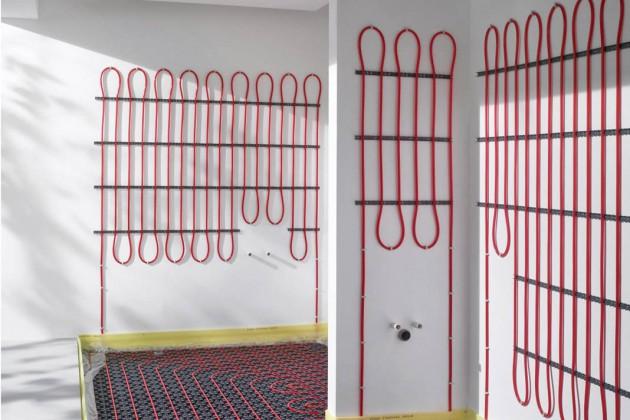 Kombination von Fußboden und Wandheizung.