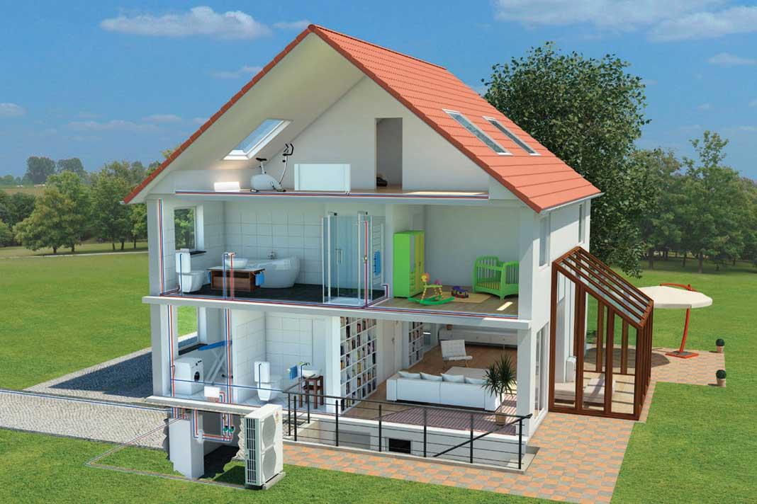 Luft/Wasser-Wärmepumpen-System