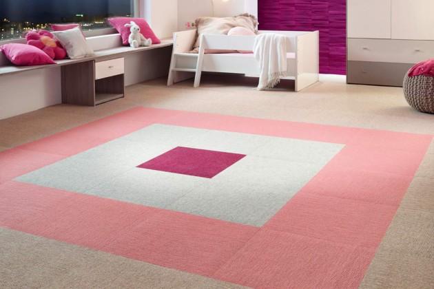 Mit Teppichfliesen kann man im Kinderzimmer ein individuelles Farbmuster gestalten.