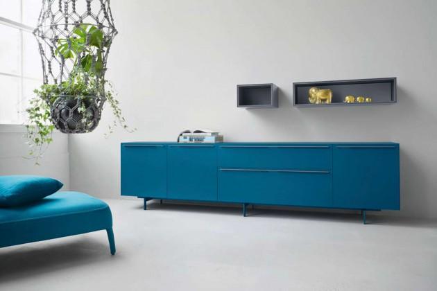 Aus einem umfangreichen Boxensystem, das individuell stehend oder wandhängend kombiniert werden kann, stammt das neue Sideboard Nex der Münchner Designmarke Piure.