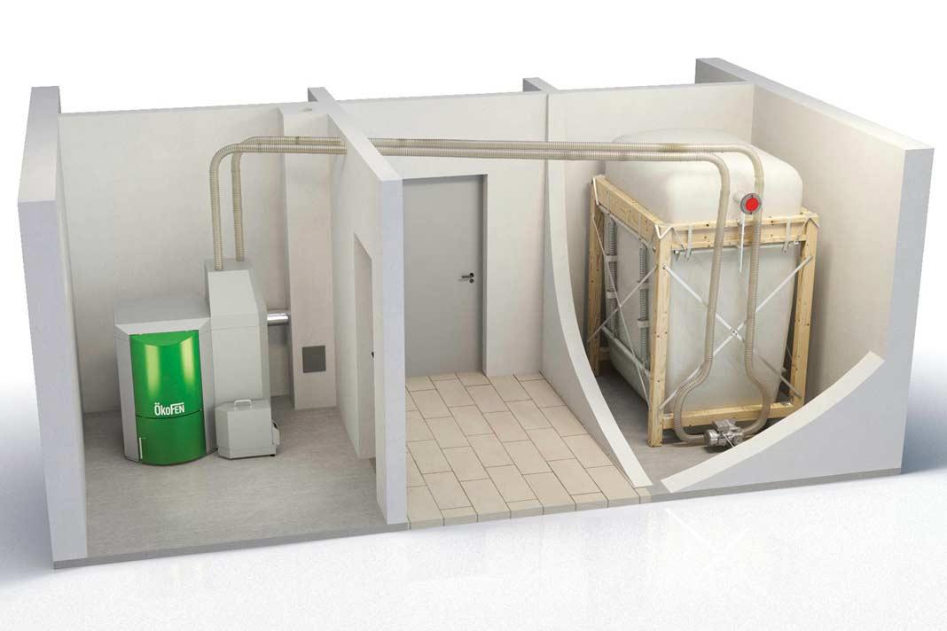 Dieser Pelletkessel versorgt sich über ein Vakuum-Saugsystem aus dem Gewebetank.