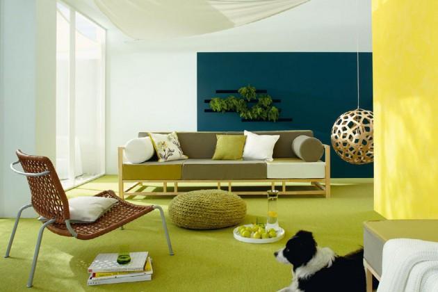 Leicht, luftig und erfrischend kommt diese Mischung aus Gelb, Grün, Weiß und Blau an