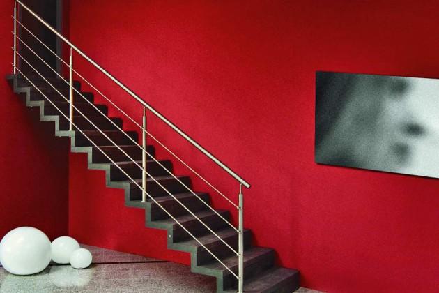 Modernes Treppendesign: die Faltwerktreppe in Schwarz mit Edelstahl geländer