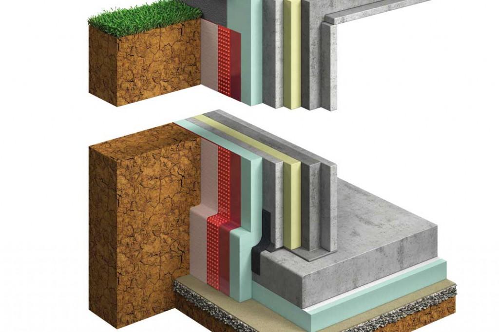 ThermoSafePlus-Wand mit Kerndämmung (hier gelb) und Außendämmung (grün) ist die beste Ergänzung für ein hoch energieeffizientes Haus. Foto: Glatthaar Fertigkeller