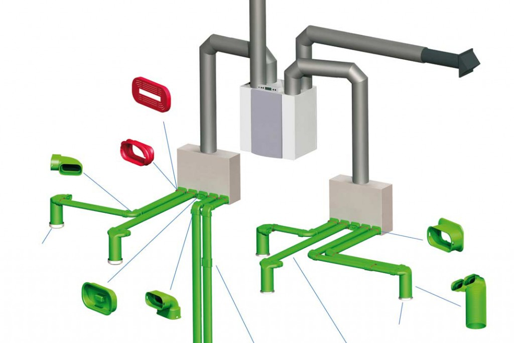 Die flachovalen Lüftungs kanäle können in Decken oder Fußböden integriert werden.