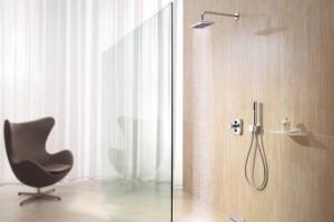 Dusche mit breiter Glasfront.