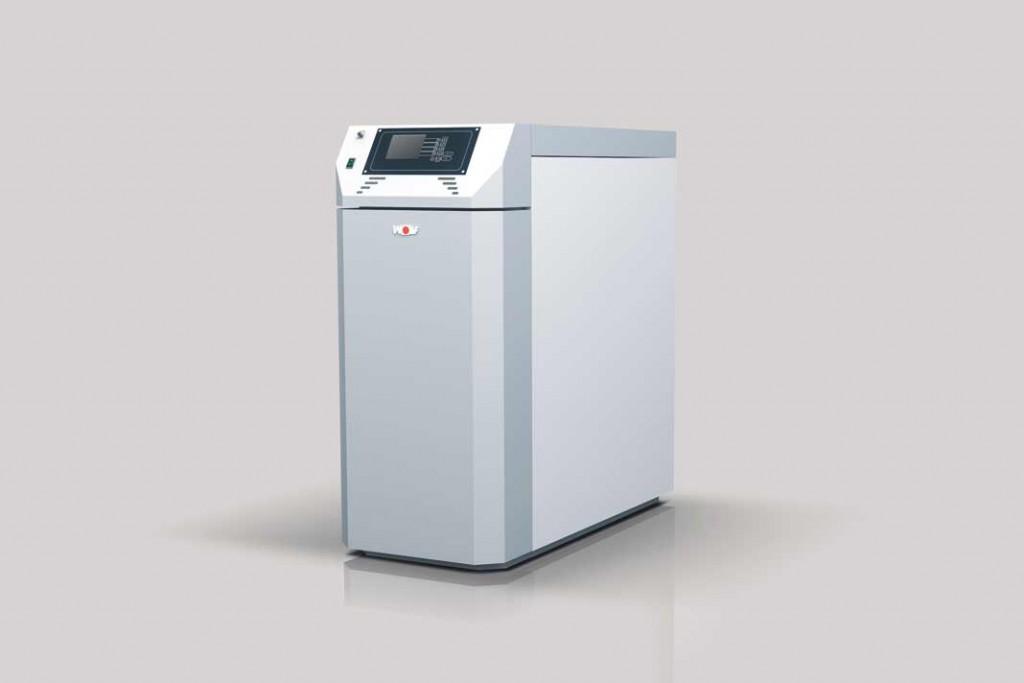 Holzvergaserkessel für Scheite, mit 20 Kilowatt oder 30 Kilowatt Leistung zu bekommen.