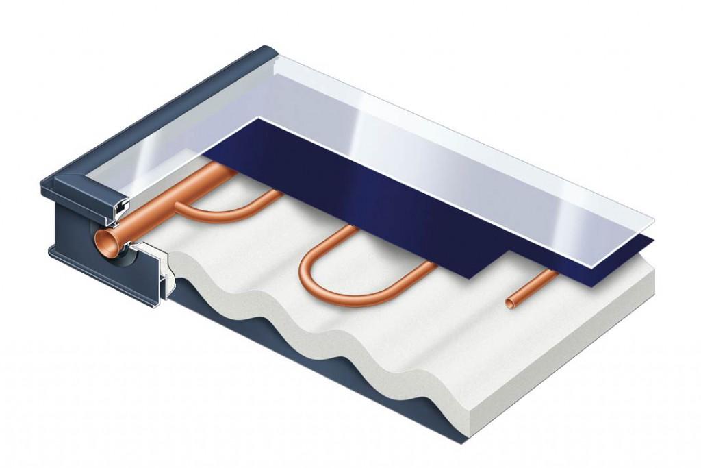 Vakuum-Röhrenkollektor nach dem Heatpipe- Prinzip mit automatischer Temperaturabschaltung.