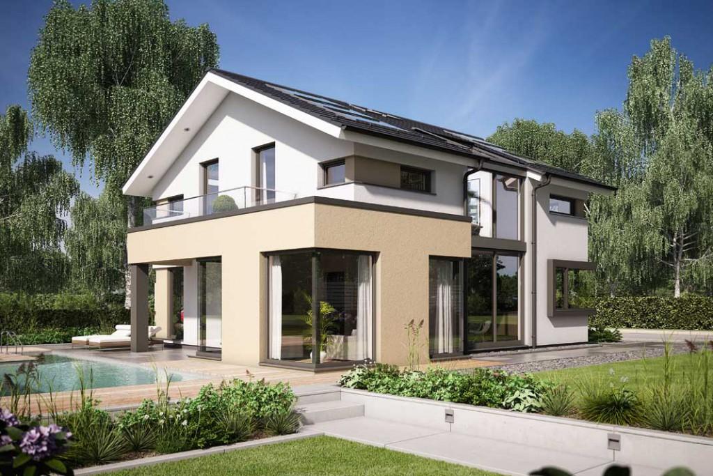 Hightech für die Energie - bilanz: Haus in Holzständerkonstruktion, mit In-Dach- Photovoltaikanlage und Gebäudemanagementsystem. Foto: Bien-Zenker