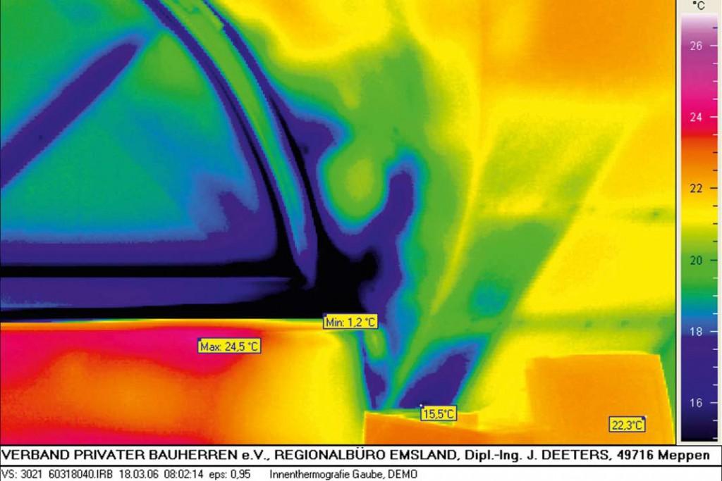 Bei der Thermografie zeigt sich, dass im Kniestockbereich unter dem Fenster der Wärmeverlust erheblich ist und dringender Bedarf ist.