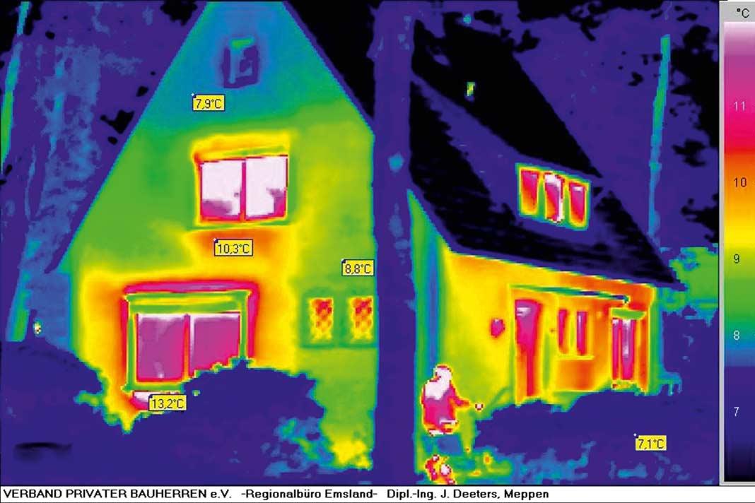 Zur Begutachtung gehört die Thermografie, die über Schwachstellen im Wärmeschutz Auskunft gibt.