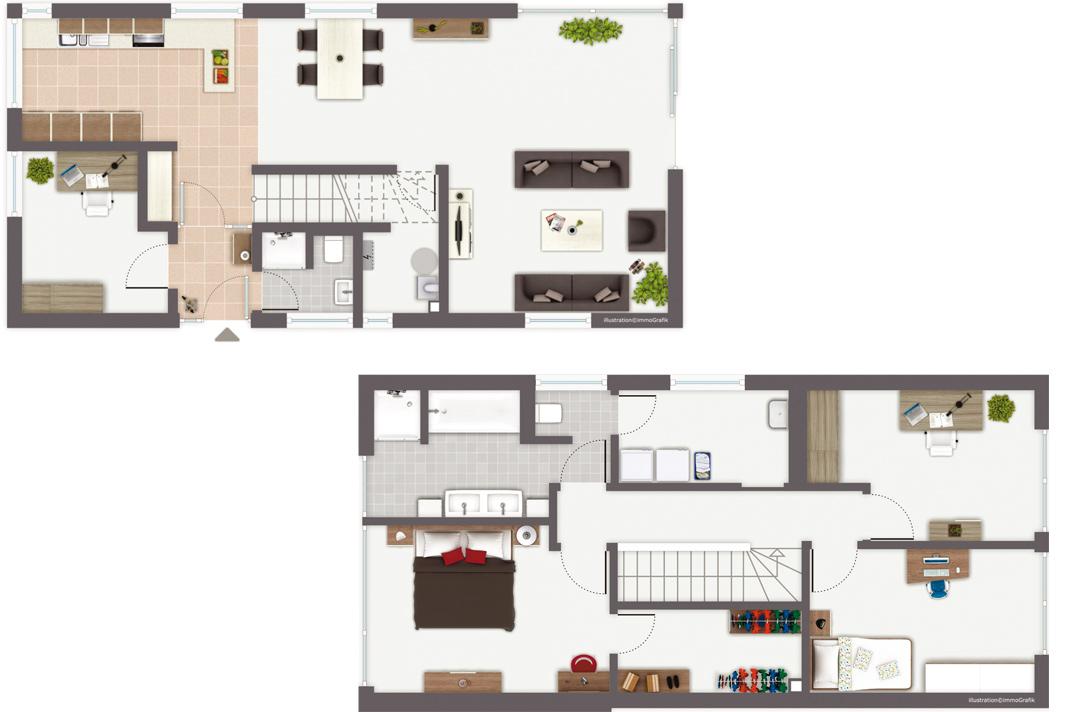 Erdgeschoss- und Obergeschoss-Grundriss von Haus Murano. Foto: Gussek Haus