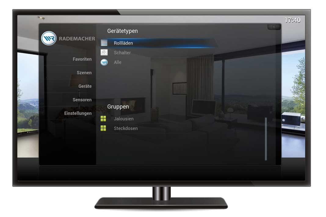 Erfolgt die Vernetzung der Rollladenantriebe und weiterer Haustechnik per Funk über das bestehende WLAN-Netz im Haus, kann auch der Fernseher als Bedien- Tableau genutzt werden.