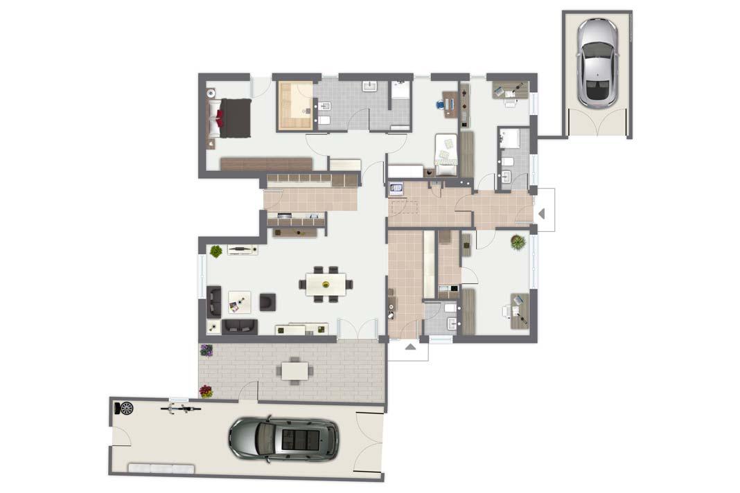 Der Bungalow ermöglicht komfortables Wohnen auf einer Ebene.