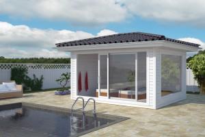 Ein formvollendetes Poolhaus komplettiert die Gartenanlage
