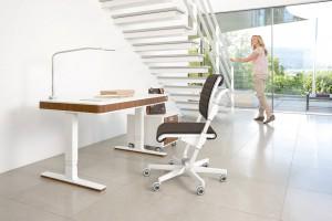 Schreibtisch mit wohnlichem Charakter für offene Räume.