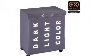 Der praktische Wäschesammler bietet durch seine drei Fächer für dunkle, weiße und farbige Wäsche die Möglichkeit der Vorsortierung.
