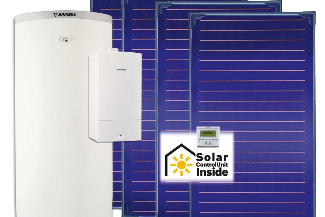 Kombination aus Gas-Brennwerttherme und Solaranlage.