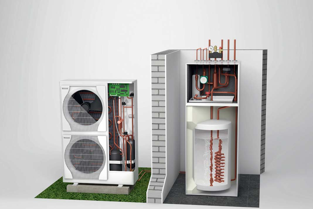 Heizung modernisieren durch eine Split-Außenluft-Wärmepumpe.