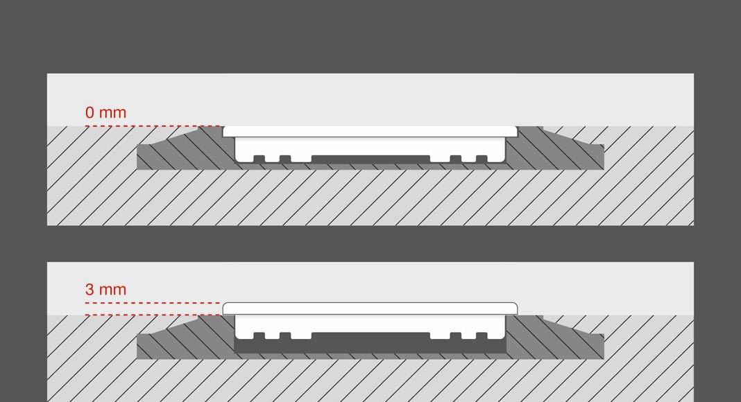Alternativ steht LS ZERO auch in einer Variante mit 3 mm Aufbauhöhe zur Verfügung.