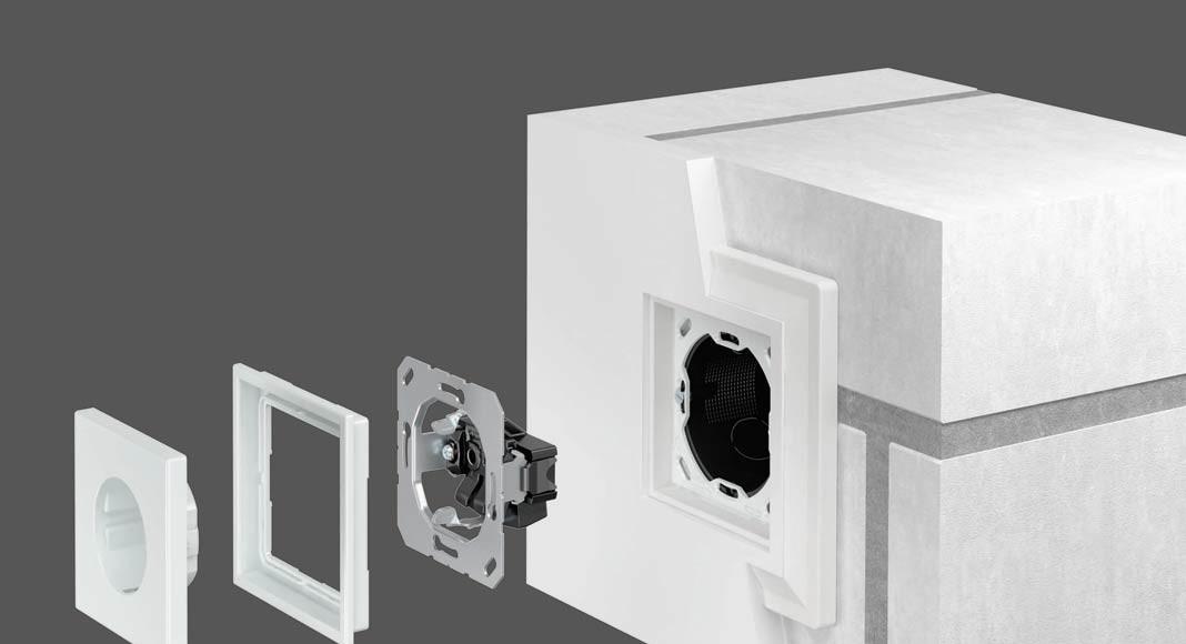 Einsatz im Mauerwerk: Bei dieser Montageform geht der Einputzadapter eine stoffschlüssige Verbindung mit dem Putzmaterial ein.