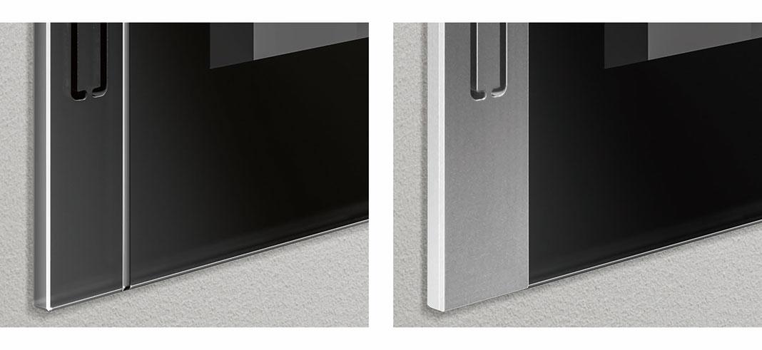 Mit den eleganten Designblenden macht das smarte Bedienpanel in jedem Fall eine gute Figur an der Wand.