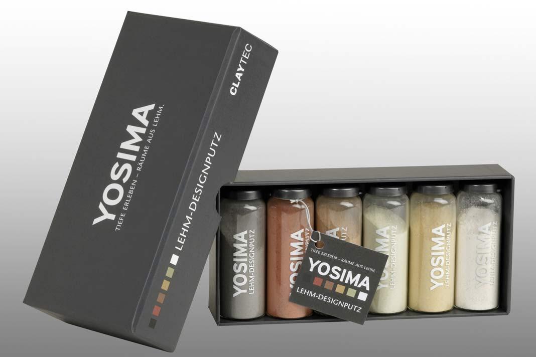 """""""Yosima""""-Lehm- Designputz mit neuartiger Farbfülle, gemischt aus reinen Rohtönen."""