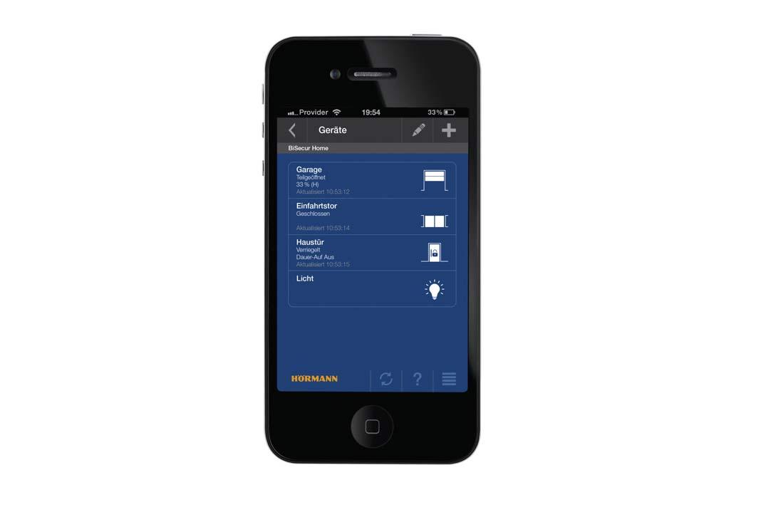 Mit dem Smartphone kontrolliert man so alle automatischen Hörmann Türen und Tore.