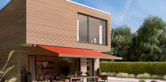 Eine neue Terrassenmarkise, die markilux 970, zeigt Ecken und Kanten.
