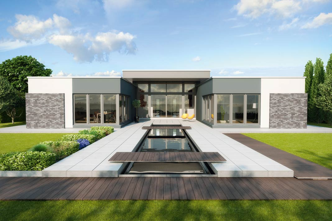 Fassadengestaltung bungalow  Luxuriöser Bungalow mit individuellem Konzept. » LIVVI.DE