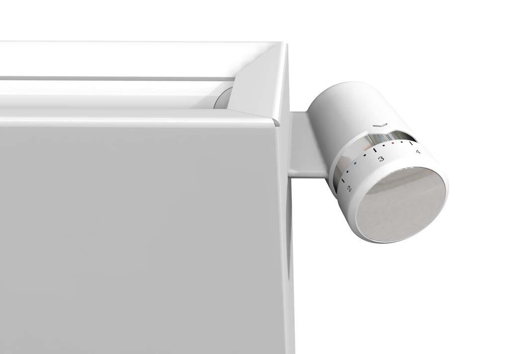 Das speziell für den Designheizkörper Zehnder Zmart entwickelte Thermostat liegt durch sein ergonomisches Design besonders gut in der Hand.