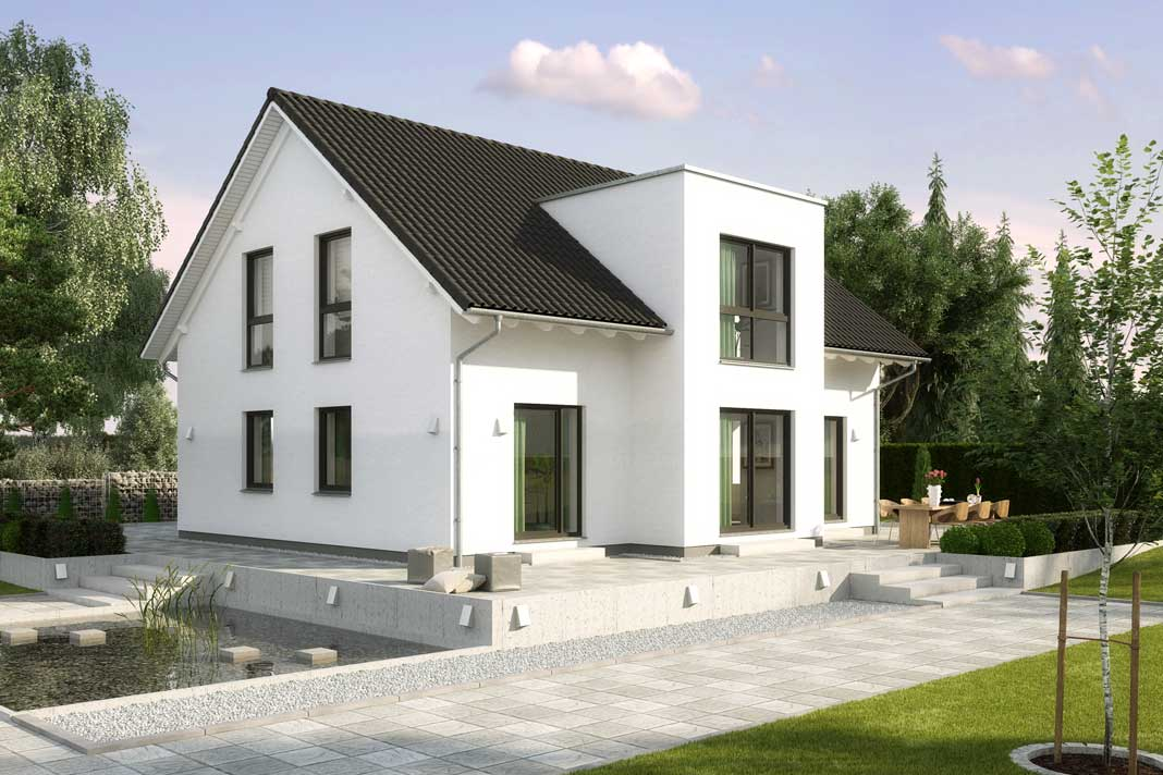 Birkenallee mit Satteldach und 163,22 m² Raumgrundfläche ausstattungsfertig ab 224.000 Euro.