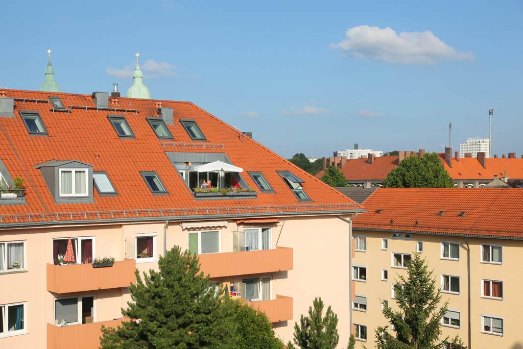 Aussicht über die Dächer der Stadt.