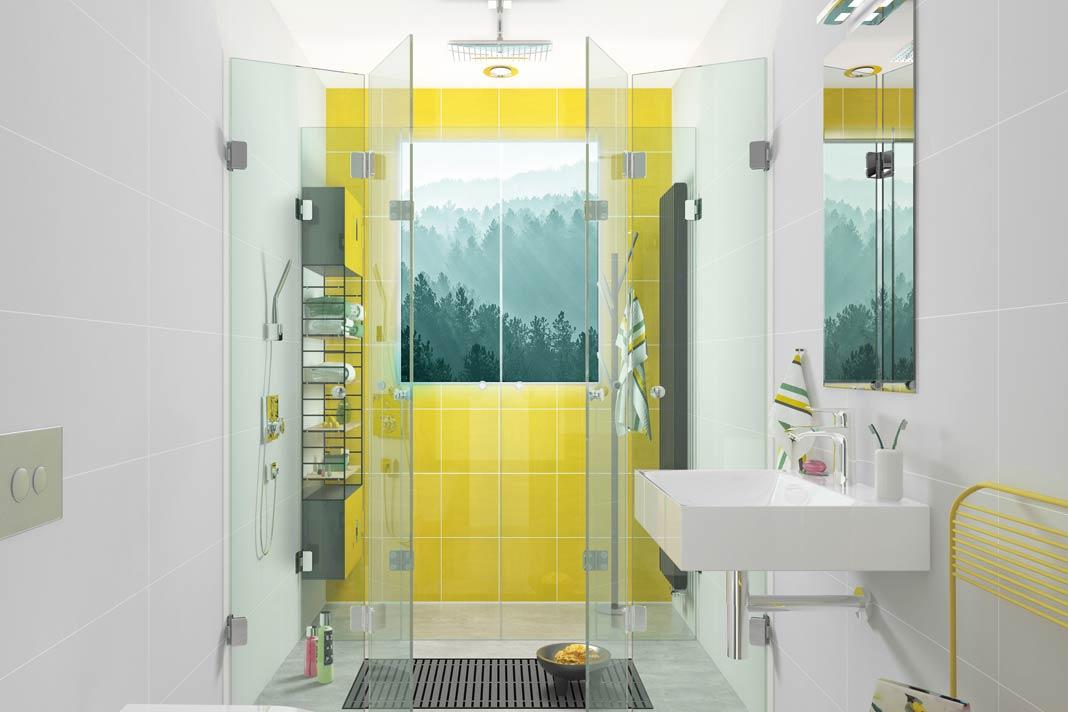 Bad mit 4,8 m2 und einer Duschfläche von 160 auf 100 cm sowie der Duschabtrennung Josephine über die gesamte Raumbreite.