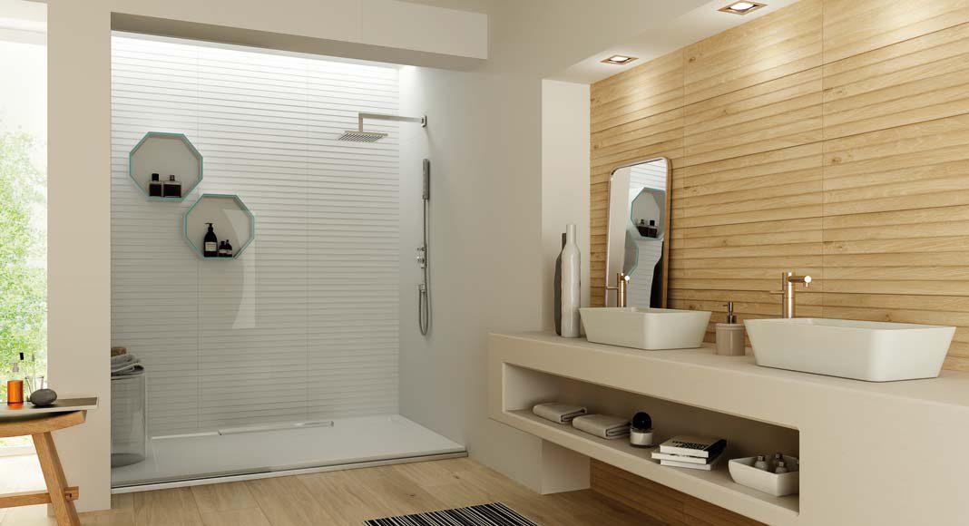 Im Badezimmer eignen sich die Fliesen in Holzoptik für Boden und Wand.