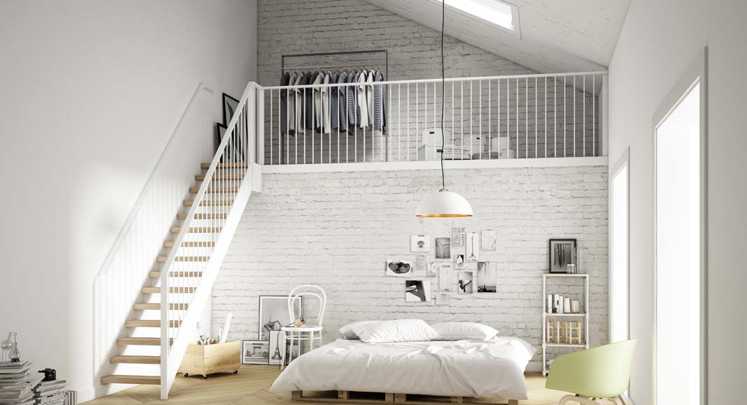 Selbst ein Schlafzimmer erhält mit dieser Holzoptik einen warmen Charakter.