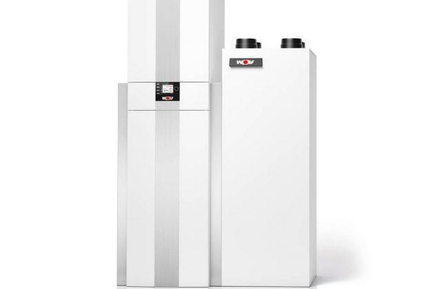 Kombination aus  Gas-Brennwertgerät und Wohnungslüftungsanlage.
