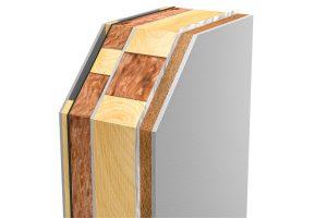 Die Basis ist eine massive Holzständer-Rahmenkonstruktion mit einer Vorsatz-Dämmschale mit Dämmwolle und ohne Styropor. Die Passivhausdämmwolle Ecose ist frei von petrochemischen Bindemitteln. Die Hartboardplatten bestehen aus Naturgips und Holzfasern. Dazu eine feuchteregulierende Holzfaserdämmplatte sowie eine Hinterlüftungsebene. Foto: Kampa