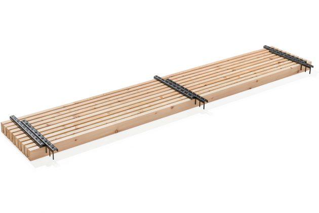 Pro Modul sind zehn Holzlamellen durch Rechen zu einer 33 cm breiten Einheit verbunden. Foto: Mocopinus