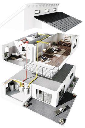 Die optimale Luftfeuchte lässt sich in Häusern mit kontrollierter Wohnraumlüftung automatisch regeln. Graphik: humilife.de
