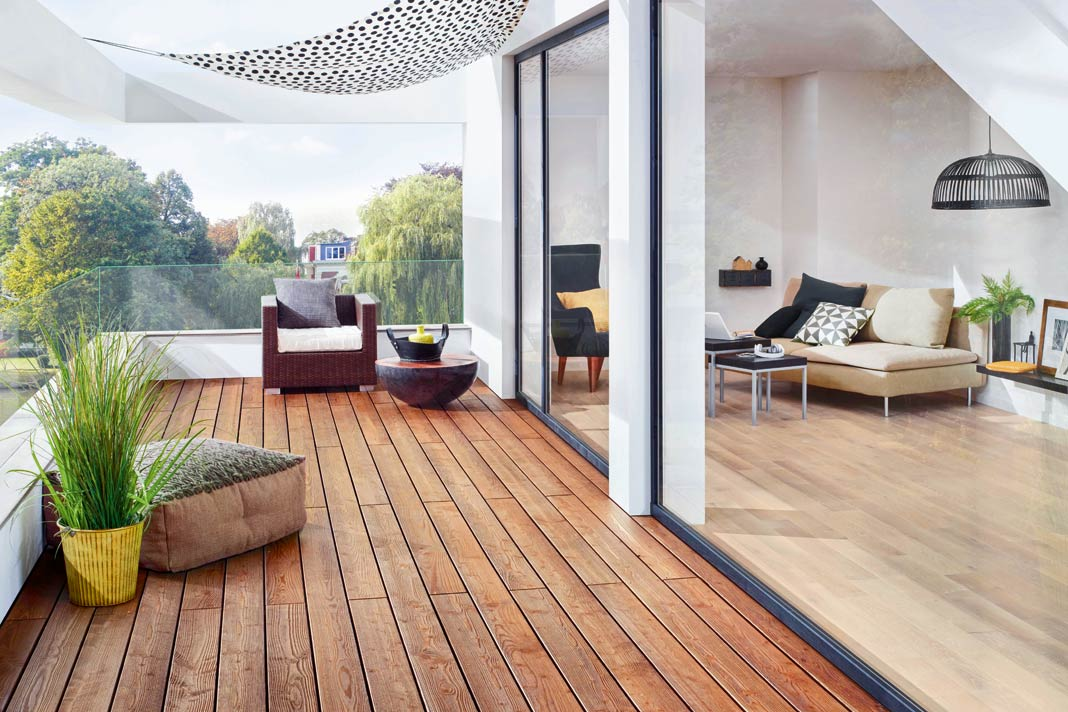 Osmo Creativ-Terrassendielen lassen Spielraum hinsichtlich Holzart, Oberfläche und Farbgebung.
