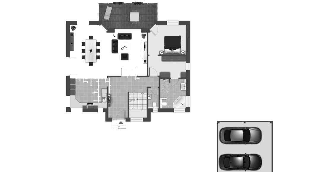 Hanghaus Grundriss EG.