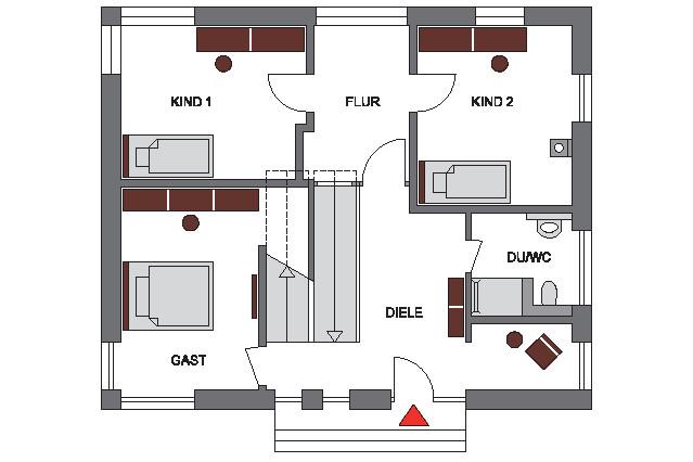 Hanghaus im Bauhausstil Erdgeschoss Grundriss