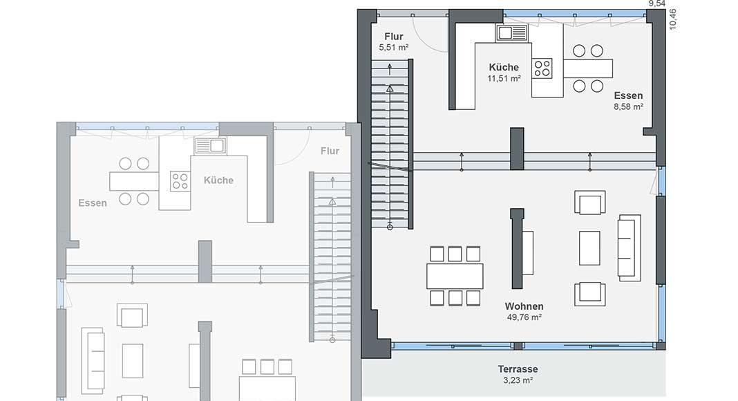 Erdgeschoss Grundriss Hanghaus Doppelhaus