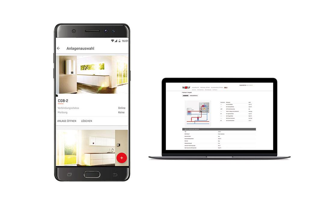 Die App von Wolf Heiztechnik gibt es für den PC und für das Smartphone.