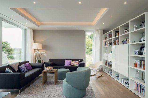 Geradlinig und modern kennzeichnet auch die Stilrichtung bei der Ausstattung des Hauses.