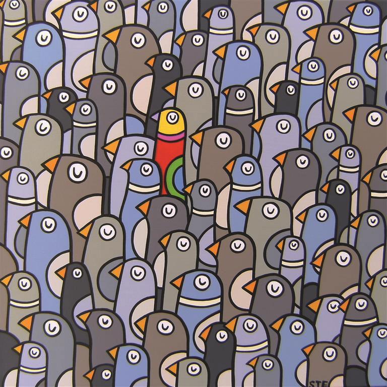 Zu seinen fröhlichen Motiven wird der Künstler Stephan Ewich durch seine fränkische Umgebung inspiriert.