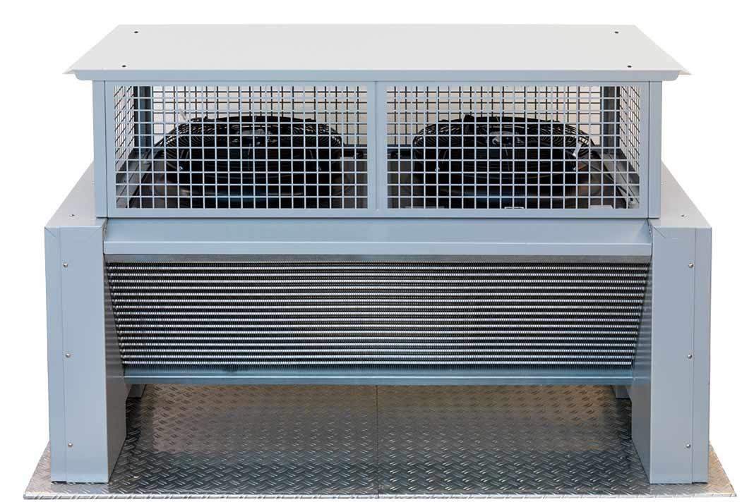 In der modifizierten Verdampfereinheit des Hybrid-Wärmepumpen-Systems Oskar° Max-Sol² werden die Energiequellen thermische Solarkollektoren und Außenluft mit dem Kältekreislauf einer Wärmepumpe direkt zusammengeführt.